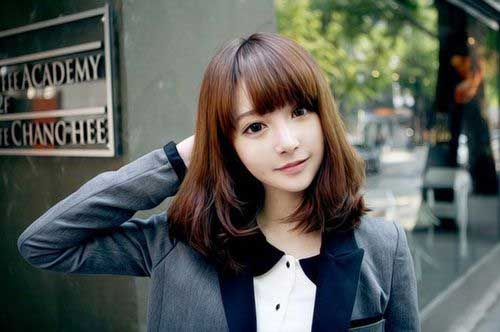 Japanese Bangs Long Bob Hairstyle