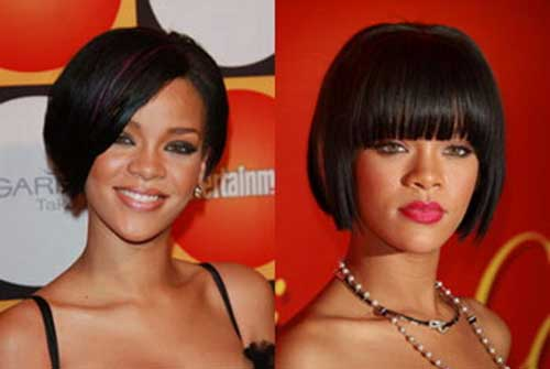 Rihanna Bob Hairstyles with Blunt Bangs