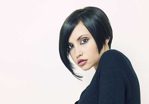 Short Asymmetrical Thin Bob with Bangs