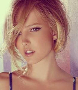 Cute Short Blonde Hair with Long Bangs