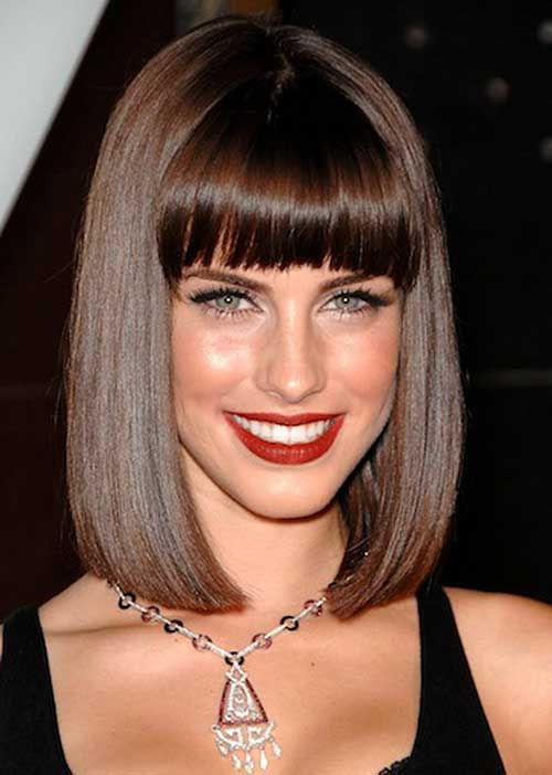 Bob Haircut with Bangs Brown Bangs
