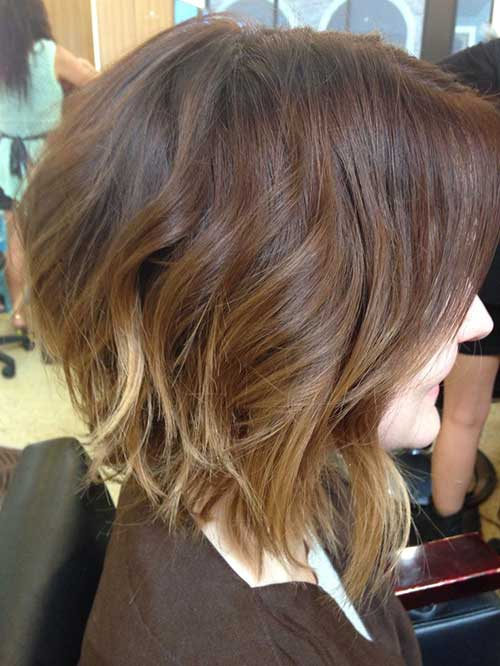 Brunette Wavy Bob Hairstyles 2014