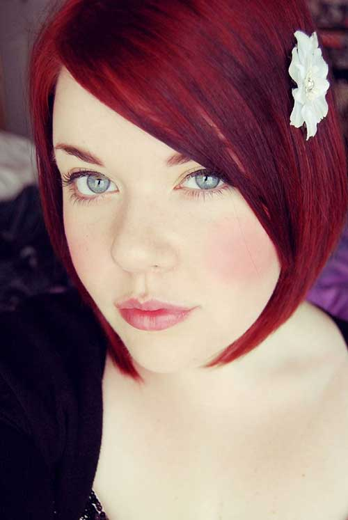 Beautiful Cranberry Red Hair with Bob