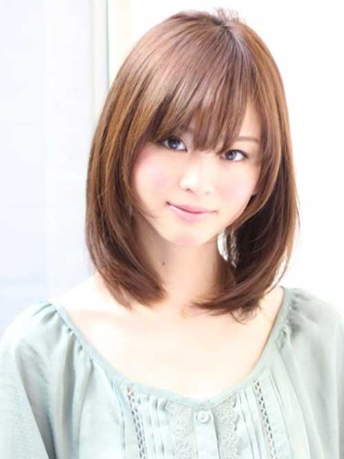 Cute Asian Long Bob with Bangs
