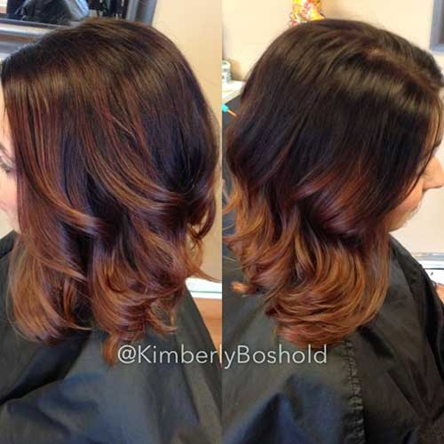 Dark Brown Balyage Ombre Bob