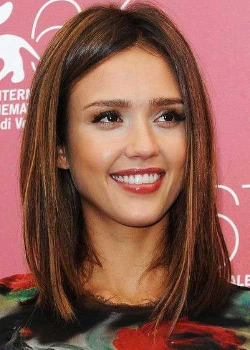Jessica Alba Brown Long Bob