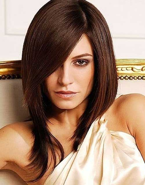 Layered Brown Long Bob with Bangs