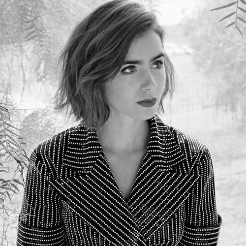 Lily Collins Choppy Bob Hair