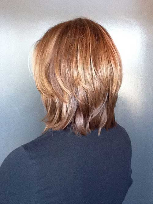 Caramel Medium Long Inverted Bob Back View