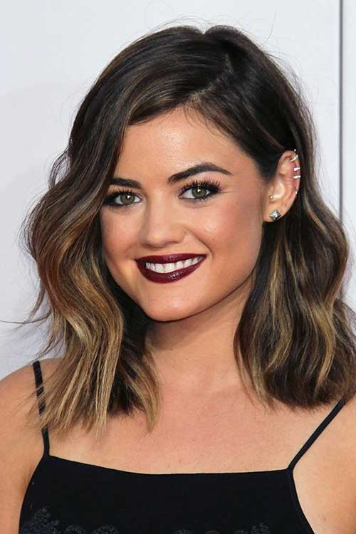 Lucy Hale Long Dark Bob