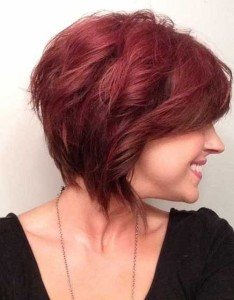 Red Graduated Bob Hairstyle