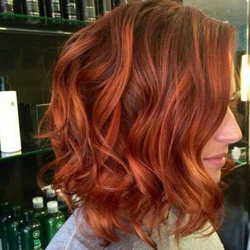 Red Wavy Hair Bob
