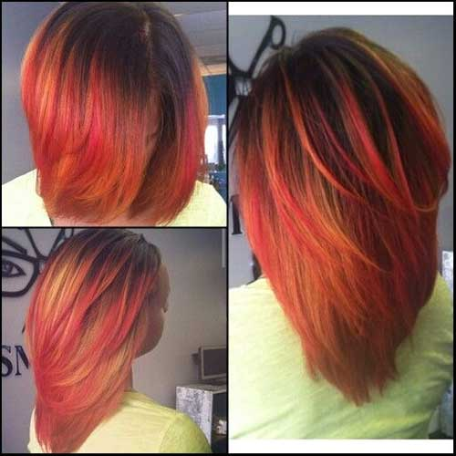 Red Lighted Long Bob Hairstyles