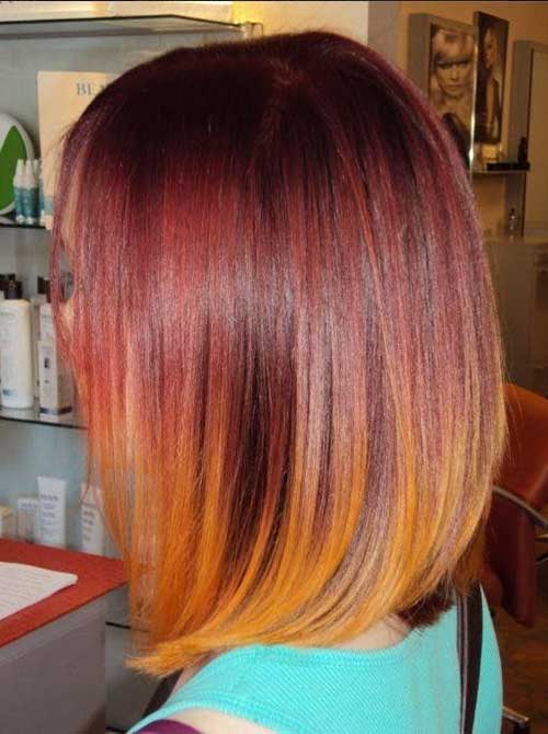 Red Ombre Colored Bob