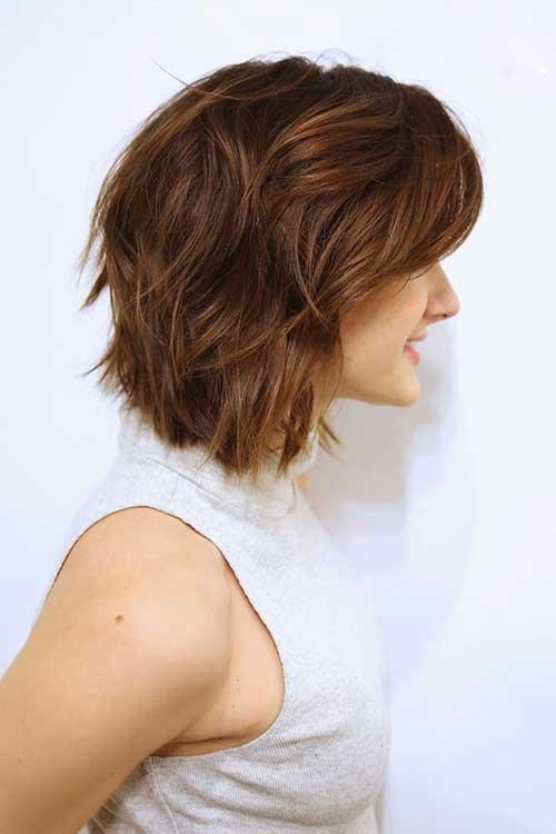 Short Btunette Wavy Bob Haircuts