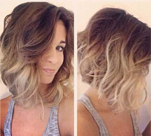 Ash Blonde Ombre Long Bob Hair