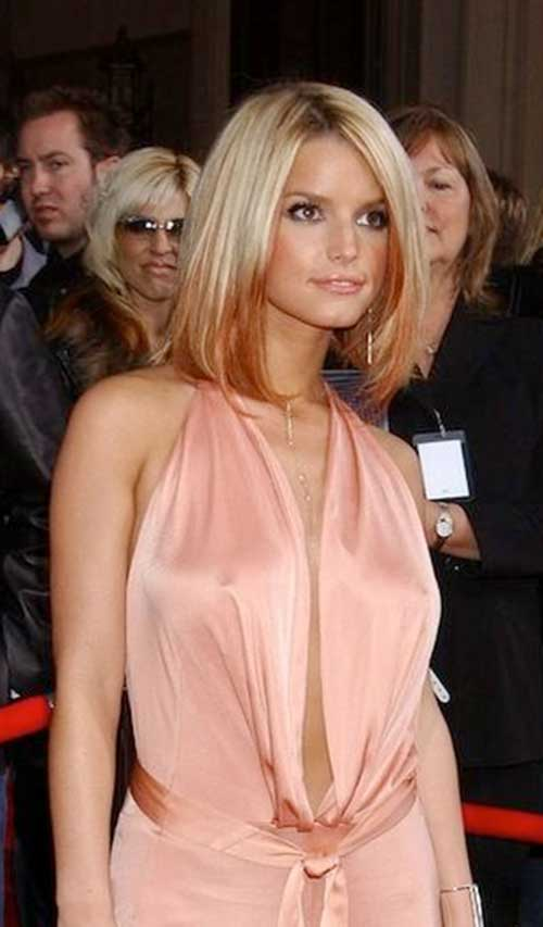 Blonde and Pink Ombre Long Bob Hair