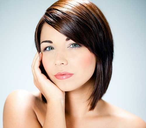 Dark Bob Style Haircuts for Round Faces