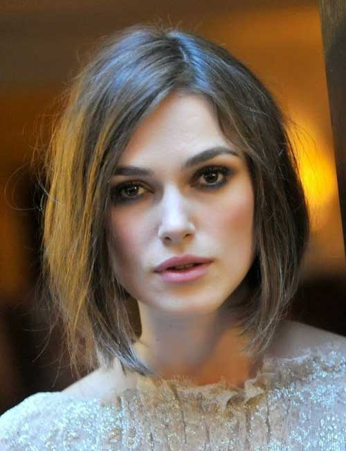 Celebrity Brown Bob Straight Hairstyles 2014-2015