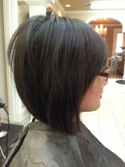 Inverted Dark Brown Layered Bob Haircuts