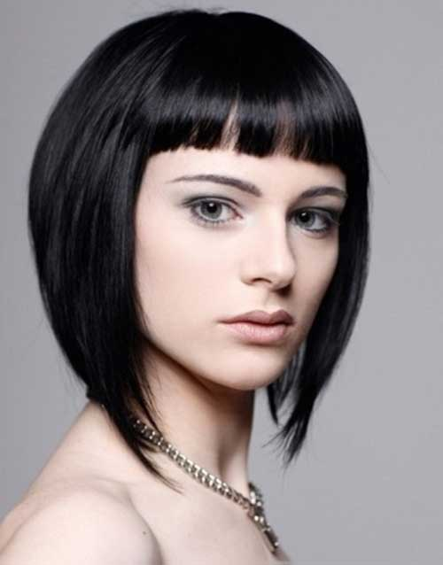 Inverted Straight Dark Bob with Bangs Haircuts