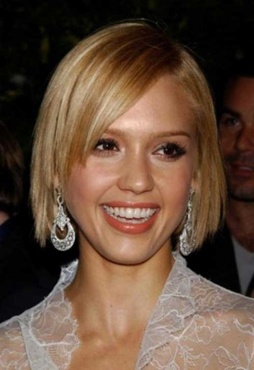Jessica Alba Side Swept Blonde Bob Hair
