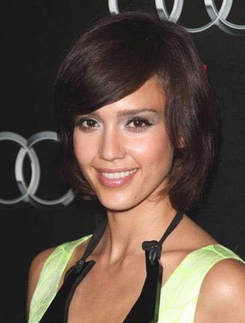 Jessica Alba Side Swept Bob Hair