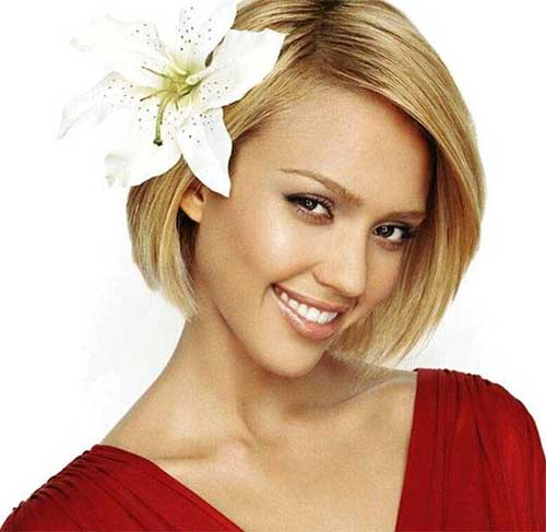 Jessica Alba Straight Blonde Bob Hairstyles