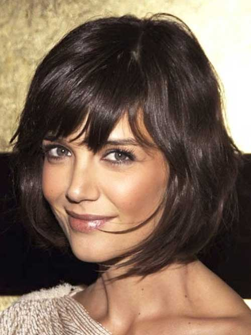 Katie Holmes Wavy Bob Haircuts with Bangs