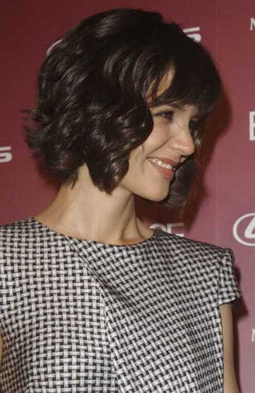 Katie Holmes Wavy Bob Hair with Bangs
