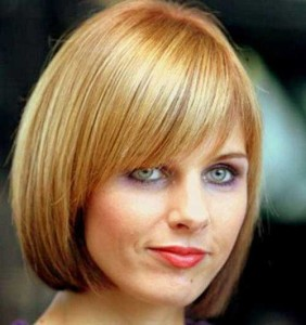 Layered Bangs with Bob for Round Faces
