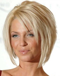 Layered Bob with Blonde Color Hair