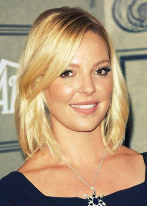 Blonde Long Bob Layered Hairstyles for Round Faces