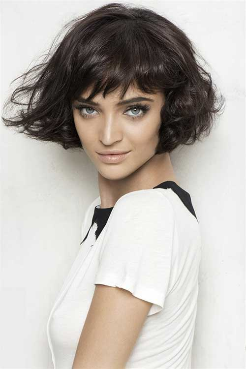 New Short Curly Bob Hair with Straight Bangs