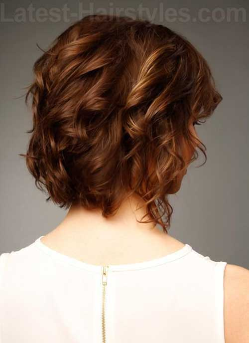 New Wavy Curly Side Swept Bob Hair Back View