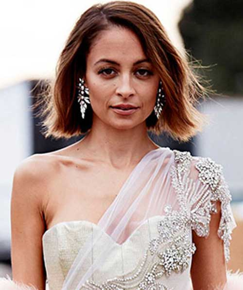 Nicole Richie Long Side Swept Bob Hair