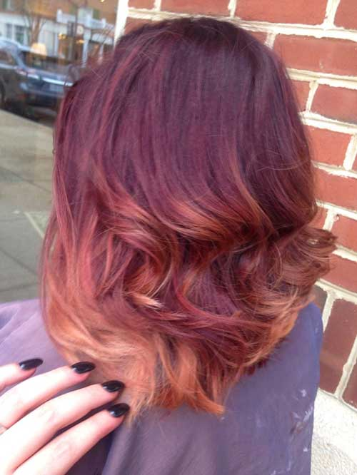 Red Ombre Long Bob Hair