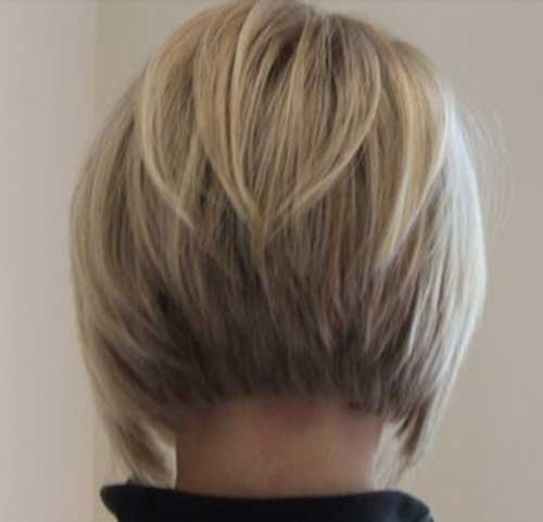 Short Bob with Blonde Color Back View