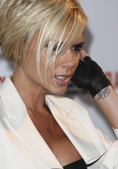 Victoria Beckham Blonde Choppy Bob Hairstyles