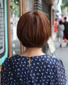 Back View of Straight Brown Bob Hair