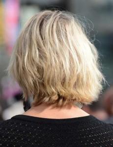 Back View of Wavy Blonde Bob Haircuts