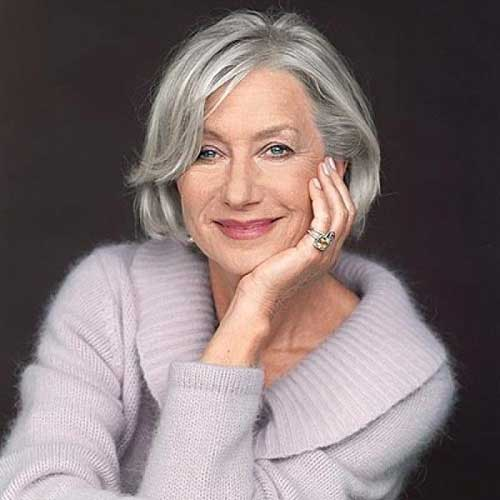 Classical Bob Hairstyles for Grey Hair Color