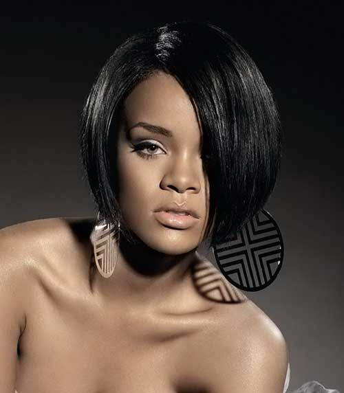 Concave Short Black Bob Hairstyle