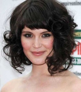 Dark Curly Bob Hairstyles with Bangs 2015