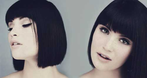 Dark Blunt Bob with Bangs