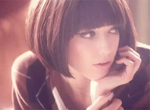 Dark Brown Blunt Bob Hairstyles with Bangs