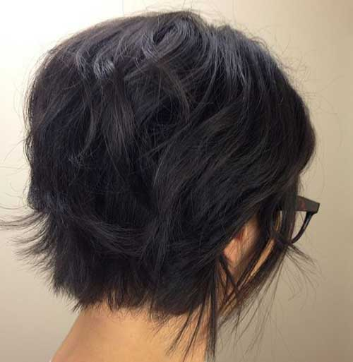 Dark Messy Short Bob Haircuts