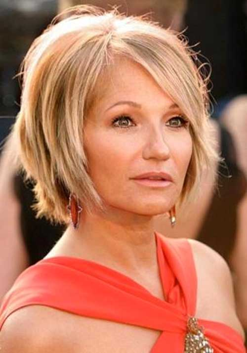 Layered Bob Hairstyles with Side Bangs for Over 50