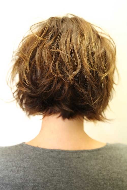 Layered Wavy Bob Hairstyles Back View 2014