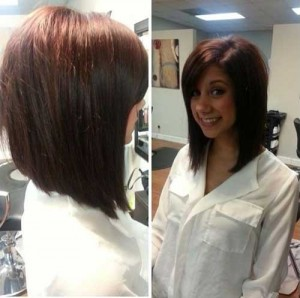 Long Angled Brown Straight Bob Hair